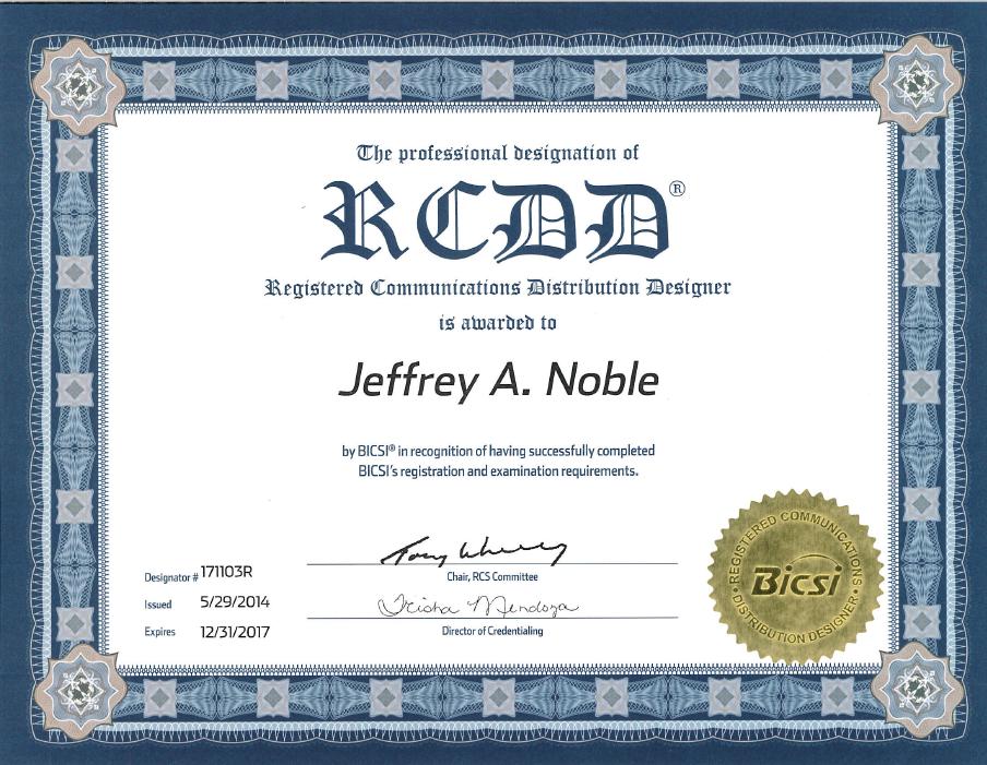 bicsi certifications those